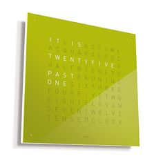 QLOCKTWO by Biegert & Funk is a word clock, available in a variety of colors and languages.