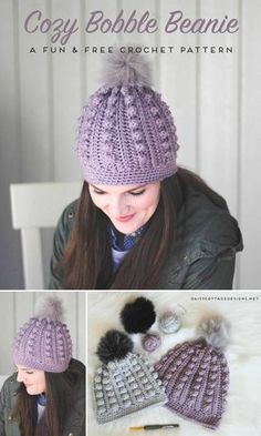 Use this free bobble beanie crochet pattern to create an adorable crochet hat for anyone on your gift list. Cozy and warm, it's the perfect winter hat. | bobble toboggan, Daisy Cottage Designs, free crochet pattern, free hat crochet pattern, crochet hat pattern free, bobble beanie