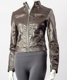 Take a look at this Coffee Zipper Faux Leather Moto Jacket - Women by Downtown Coalition on #zulily today!
