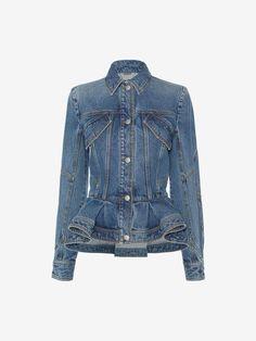 46a005720f Alexander McQueen Vintage Wash Denim Peplum Jacket Roupas, Peplum Blazer,  Jaqueta Peplum, Moda
