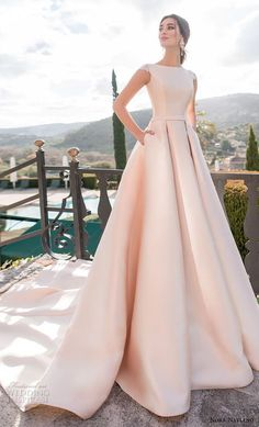 """Naviano 2019 Wedding Dresses — """"Voyage"""" Bridal Collection nora naviano 2019 bridal cap sleeves bateau neckline simple clean minimalist elegant blush a line wedding dress with pockets covered lace back chapel train mv -- Nora Naviano 2019 Wedding Dresses Wedding Dress Tea Length, Wedding Dress With Pockets, Perfect Wedding Dress, Simple Wedding Gowns With Sleeves, Simple Dresses, Wedding Dress Cinderella, Dream Wedding Dresses, Tulle Wedding, Lace Weddings"""