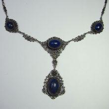 *SOLD* Laura's lifeintheknife on Ruby Lane: Antique Edwardian 800 Silver Cannetille Filigree Lapis Lazuli Lavaliere Pendant Necklace