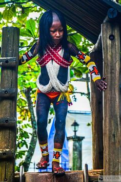 Indians brazil kayapo indian girl in traditional bead
