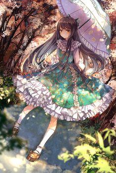 1girl aqua_dress autumn black_hair bow dress floral_print forest hair_bow…