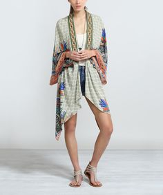 Loving this Olive Geometric Open Cardigan on #zulily! #zulilyfinds
