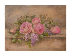 Antique roses and lilac on a low wall by Helen Flont