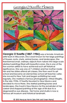 Georgia O'Keeffe Flower Painting Lesson from * Pink and Green Mama Crafts: Exploring Great Artists Volume 1 e-book