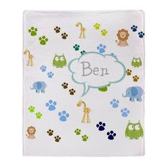 Personalize it! Zoo Animals -blue Throw Blanket - PERSONALIZE OnLINE!  Fun zoo animals design filled with elephants,owls,giraffes,lions and animal footprints;  SO cute for nursery & kids bedroom; see all our fun products with this desing in our store www.cafepress.com/drapestudio and our other designs at www.drapestudio.com