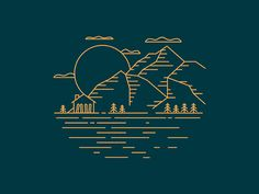 Mountain Morning designed by Lucy Prouty. the global community for designers and creative professionals. Line Design, Icon Design, Design Art, Mountain Logos, Mountain Designs, Line Illustration, Mountain Illustration, Travel Icon, Grafik Design