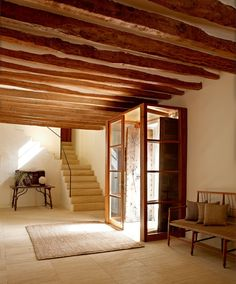 Le Petitchouchou // I really love the simplicity of the staircase and the drama of the wood beamed ceiling Cuisines Design, Humble Abode, Beautiful Space, Interior Design Inspiration, Style At Home, Architecture, Ibiza, Future House, Interior And Exterior