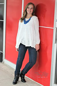 We love this white peasant style blouse...  soft & feminine...  #ishoptheloft #fashion #nowtrending #style #ootd #mystyle #boutiquelove #trendy #shopsmall #follow