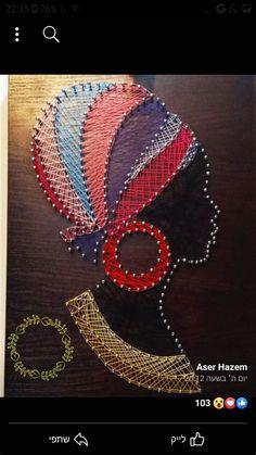 String Art Tutorials, String Art Patterns, Canvas Art Projects, Diy Canvas Art, Hilograma Ideas, String Wall Art, Art Africain, Thread Art, Pin Art
