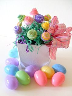 Spring Button Bouquet  Easter Pastels Flower Girl by angel9, $24.00