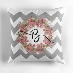 Personalized Pillow Cover. Shabby Country Chic, Painterly Cottage Throw Cushion. Decorative Chevron Accent for Bed, Sofa, Chair, Den, Dorm. CUSTOM DESIGNED & PRINTED monogram art on original fabric design. #monogrammed  SteadyThreadsStudio.etsy.com or always available at SteadyThreadsStudio.com