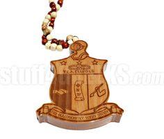XXL Wooden Kappa Alpha Psi Tiki Crest Necklace (8.5 in. tall x 0.75 in. thick)  Item Id: PRE-TIKI-KAY-XXL_WOOD_CREST  Price:  $49.00