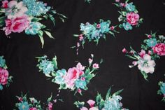100-Rayon-Challis-Apparel-Fabric-Floral-Rose-Print-Sewing-BTY-Black-Blue-Pink