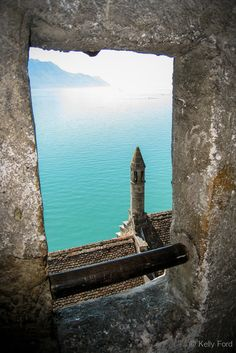 Lake Geneva from one of the rooms on the upper levels of Chateau Chillon in Switzerland.