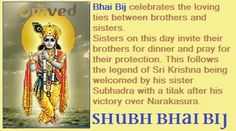 The fifth day of Diwali is known as 'Bhai dooj' 'Bhratri Dooj' or 'Bhai Bij'. Bhai means brother and dooj means second, signifying the second day of the new moon.   It celebrates the loving ties between brothers and sisters and consolidates this relationship.   One legend of the origin of this day is that Sri Krishna after his successful war over Narakasura went to visit his sister subhadra who welcomed him with a tilak and aarti and prayed for his protection.