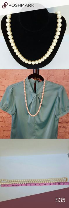 """Vintage faux pearl necklace Purchased in Japan. The oversized pearls look like traditional pearls only larger. Beautiful gold clasp. Measures 30.5"""" long. Each bead is 1 cm. Mint condition Vintage Jewelry Necklaces"""