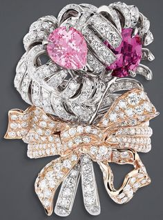 """DIOR. """"Double Panache Spinelle Rose"""" ring in white and pink gold, diamonds and…"""