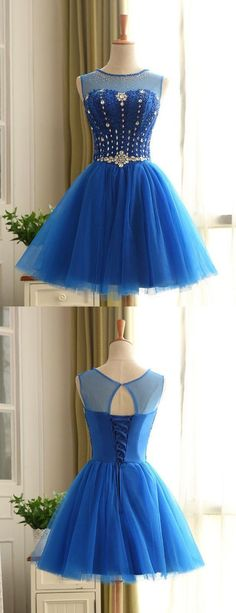 Jewel Short Homecoming Dress,Beading Prom Dress,lace up back