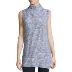 T by Alexander Wang Sleeveless Marled Chunky Cotton-Blend Sweater ($345) ❤ liked on Polyvore featuring tops, sweaters, chunky turtleneck, sleeveless turtleneck sweater, chunky turtleneck sweater, black and white sweater and turtle neck top