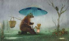 Igor Oleynikov - love the rain bouncing off the top of the umbrella saiskos pomppivat sadepisarat suolalla aikaiseksi? Art And Illustration, Michael Sowa, Fantasy Kunst, Fantasy Art, Art D'ours, Rain Art, Magazines For Kids, Tumblr, Bear Art