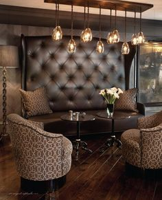Tea room inspo. Love wood floors, lighting and matching pillows/chairs