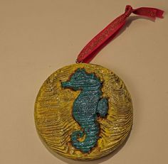 DeTiki Hand Carved SEAHORSE ORNAMENT  Reclaimed Wood Beach Nautical sea Life