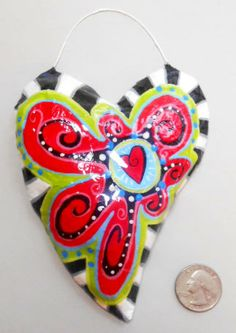 Heart Ornament with Funky Red Flower and Heart with Lime Black and White-Paper Mache