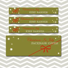 Christmas in July Etsy banner set Green by PolkaDotSquareDesign, $25.00