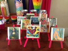 Popsicle stick easels with famous art at an Art Party #artparty #decorations