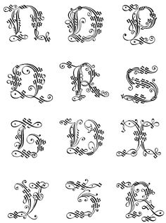 Gothic Letters A-Z :: Italian Gothic Capitals 3 - 16th Century
