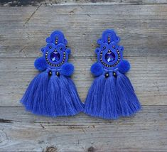 Beaded Tassel Earrings, Soutache Earrings, Boho Earrings, Ring Earrings, Etsy Earrings, Statement Earrings, Pom Pom Crafts, Seed Beads, Diy Jewelry
