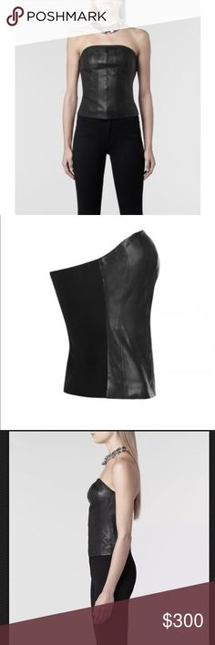 Classic Black Leather All Saints ATLE Corset Top New With Tags  Authentic & Sold out everywhere!  