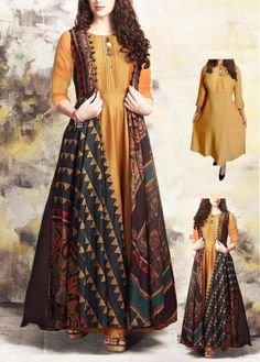 two piece kurti and koti. Not Included in the sale price. Pakistani Dresses Casual, Indian Gowns Dresses, Indian Fashion Dresses, Pakistani Dress Design, Indian Designer Outfits, Girls Fashion Clothes, Designer Dresses, Indian Designers, Stylish Dresses For Girls