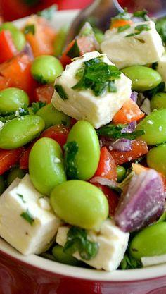 Edamame Feta Salads. Substitute shrimp for fake crab or leave it vegetarian.
