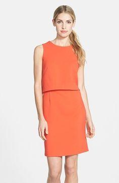 $54, Orange Shift Dress: Eliza J Crepe Popover Dress. Sold by Nordstrom. Click for more info: https://lookastic.com/women/shop_items/228638/redirect