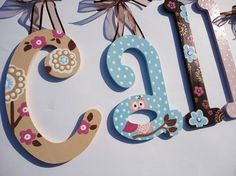 Custom Hand painted wooden wall letters - pink, brown and blue owls and flowers on Etsy, $22.28 CAD