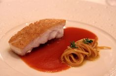 bread crusted red snapper, saffron, smoked sweet paprika sauce from Le Bernardin.