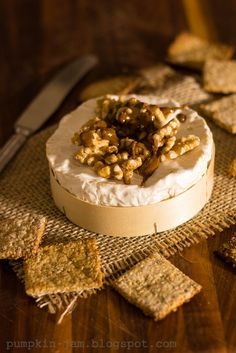 Camembert cheese coated with walnuts and caramelized sugar