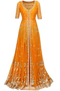 Anita Dongre - Tangerine gota patti work rukhvika jacket with sage green shorts at Pernia's Pop Up Shop. Indian Gowns, Indian Attire, Indian Ethnic Wear, Pakistani Outfits, Indian Outfits, Salwar Kameez, Anarkali Dress, Anarkali Suits, Long Anarkali