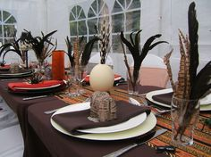 African themed summer party in the garden tropical Africa Theme Party, African Party Theme, America Birthday, Safari Cakes, Banquet Decorations, Birthday Table, Safari Party, Party Time, Table Settings