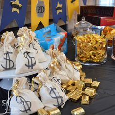 banner, cops & robbers, police, mustache, stars, badge, deco labels, big shot, muslin bags, treat bags, gold