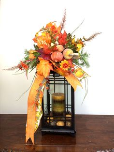 Fall Lantern Swag w Pumpkins Flowers Leaves Autumn Lantern Swag Thanksgiving Table Decor Fall Table Decorations Mantle Decor by SouthernCharmWreaths $45.00 USD