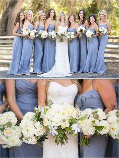 floor length periwinkle bridesmaid  #bridesmaiddresses #purplewedding