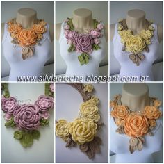 Crochet Necklace; beautiful. (No pattern)