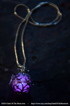 Steampunk Silver Filigree Glow Pendant Locket in Purple LED, Aqua or Green by DarkOfTheMoonArts, $30.00
