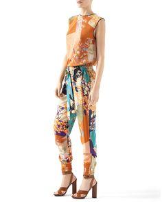 Patchwork Print Silk Jogging Pant