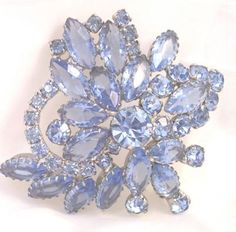 Blue Rhinestone Vintage Pin by Juliana by bitzofglitz4u on Etsy